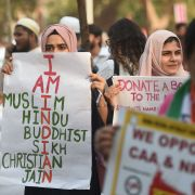 Protesters rally against India's new citizenship law in Mumbai on Dec. 19, 2019.