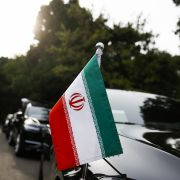 Cars belonging to the Iranian delegation in Beijing