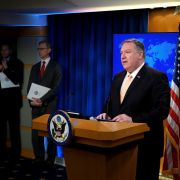 U.S. Secretary of State Mike Pompeo speaks during a press conference at the U.S. Department of State in Washington on April 22, 2019, in which he announced that the United States would no longer grant exemptions to Iran's oil customers.