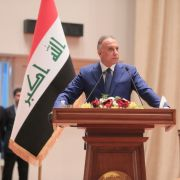 Iraqi Prime Minister Mustafa al-Kadhimi makes a speech in Baghdad on May 6, 2020. The following day, Iraq's parliament granted a vote of confidence to al-Kadhimi's new government and swore in a majority of his 22 ministers.