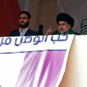 Shiite leader Muqtada al-Sadr (R) delivers a speech in Baghdad in March 2017.