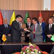 Kurdish officials attend a signing ceremony in Suleimaniyah, Iraq, on May 5, 2019.