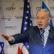 Israeli Prime Minister Benjamin Netanyahu speaks at the Kohelet Policy Forum conference in Jerusalem on Jan. 8, 2020.