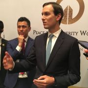 "Jared Kushner, President Donald Trump's son-in-law and adviser, discusses the U.S.-sponsored Middle East ""Peace to Prosperity Workshop"" with reporters in the Bahraini capital of Manama on June 26, 2019."