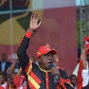 Kenyan President Uhuru Kenyatta addresses a crowd during a campaign rally for his Jubilee Party of Kenya in the capital of Nairobi. Kenya will hold its presidential election on Aug. 8.
