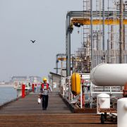 An oil facility on Khark Island in the Persian Gulf