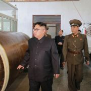 North Korean leader Kim Jong-Un visits the Chemical Material Institute of the Academy of Defense Science on August 23, 2017.