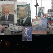 Campaign posters slung from a tunnel entrance in Beirut depict candidates in Lebanon's parliamentary election, which took place May 6.