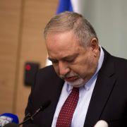 Israeli Defense Minister Avigdor Lieberman speaks during a news conference at the Israeli parliament on Nov. 14, 2018 in Jerusalem.