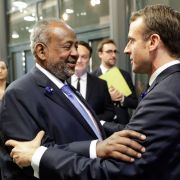 Djibouti's President Ismail Omar Guelleh and French President Emmanuel Macron during the Paris Peace Forum in November 2018