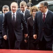 Russian President Vladimir Putin (CL) is guided by his host, Hungarian Prime Minister Viktor Orban (CR), at the Hungarian parliament in Budapest on Feb. 2, 2017.