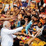 Indian Prime Minister Narendra Modi speaks at a rally