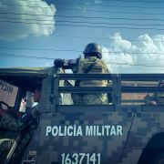 Mexican soldiers drive an army truck in Guadalajara, Mexico, on Oct. 12, 2019.
