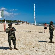 Mexican marines patrol the beach of Playacar, near the seaside tourist resort of Playa del Carmen, Quintana Roo State, on Feb. 14, 2019.