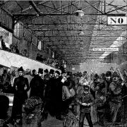 An antique illustration of officers examining baggage in New York.
