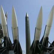 An array of North Korean, South Korean and American missiles stand on display at a museum in Seoul.