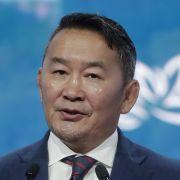 Mongolian President Khaltmaa Battulga speaks on Sept. 5, 2019, during the Eastern Economic Forum in Vladivostok, Russia.