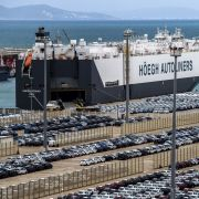 A picture taken on March 12, 2018, shows a ship docked at the Tanger Med container port and Renault terminal in Ksar Sghir, near the northeastern Moroccan port city of Tangiers overlooking the Strait of Gibraltar.