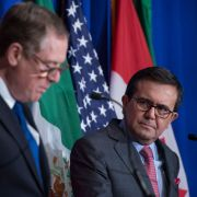 Mexican Economy Secretary Ildefonso Guajardo Villarreal watches U.S. Trade Representative Robert Lighthizer during NAFTA negotiations, which have failed to sufficiently progress.
