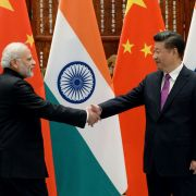 Indian Prime Minister Narendra Modi, left, shakes hands with Chinese President Xi Jinping on Sept. 4, 2016, in Hangzhou, China.