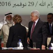 Palestinian President Mahmoud Abbas, right, greets Hamas official Ahmed Haj Ali, second from left, during the opening of the Seventh Fatah Congress in 2016 in the West Bank city of Ramallah.