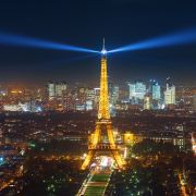 Paris' Eiffel Tower is seen at night.
