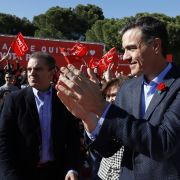 Pedro Sanchez, leader of the Spanish Socialist Workers' Party, attends a rally.