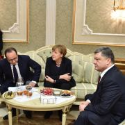 Russian President Vladimir Putin, Former French President Francois Hollande, German Chancellor Angela Merkel and Ukrainian President Petro Poroshenko (L-R) attend a meeting in February 2015 to discuss the conflict in Ukraine.