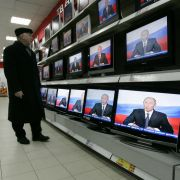 TV sets for sale in Moscow show Russian President Vladimir Putin addressing the nation in 2007.