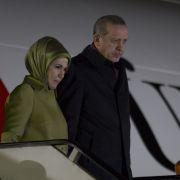 Recep Tayyip Erdogan president of Turkey with his wife.