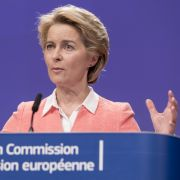 European Commission President-elect Ursula von der Leyen unveils a list of appointees to the European Union's executive branch in Brussels on Sept. 10, 2019.