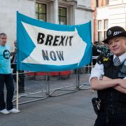 Brexit supporters protest outside the United Kingdom's Supreme Court on Sept. 19, 2019, in London.