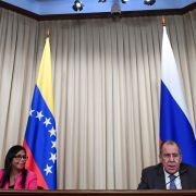 Russian Foreign Minister Sergei Lavrov (right) holds a joint press conference with Venezuelan Vice President Delcy Rodriguez following their meeting in Moscow on Mar. 1, 2019.