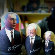 Russian President Vladimir Putin is the largest in a lineup of matryoshki, or nesting dolls, depicting Russian leaders past and present.