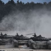 Russian tanks line up to fire during the first day of the Army 2017 International Military Technical Forum.