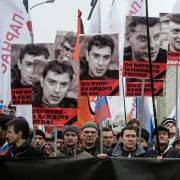 People march in memory of Russian opposition leader and former Deputy Prime Minister Boris Nemtsov on March 1, 2015, in central Moscow.