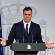 Spanish Prime Minister Pedro Sanchez discusses his government's decision to call early elections in April after a Cabinet meeting in Madrid on Feb. 15, 2019.
