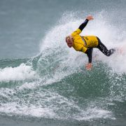 A surfer competes in Cornwall, England.