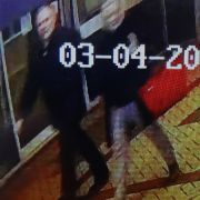 CCTV footage on a mobile phone is believed to show former Russian spy Sergei Skripal (left), and his daughter, Yulia Skripal, walking in the center of Salisbury not long before they were poisoned.