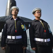 In this photograph, Taiwanese sailors stand on a U.S.-made Guppy-class submarine in southern Taiwan on Jan. 18, 2017.