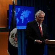 U.S. Secretary of State Rex Tillerson leaves the podium after a news conference at the State Department in Washington on March 13, 2018.