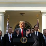 U.S. President Donald Trump speaks during a press conference to discuss a revised U.S. trade agreement with Mexico and Canada in the Rose Garden of the White House on Oct. 1, Washington, DC.