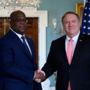 U.S. Secretary of State Mike Pompeo and Democratic Republic of the Congo President Felix Tshisekedi meet in Washington on April 3, 2019.