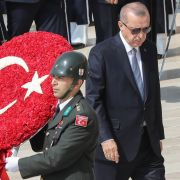Turkish President Recep Tayyip Erdogan visits the tomb of modern Turkey's founder, Mustafa Kemal Ataturk, to commemorate the 96th anniversary of the country's independence.