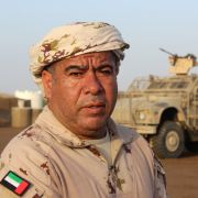 Col. Saeed Salmeen, the Emirati commander of the Saudi-backed coalition on Yemen's west coast frontline, is pictured at a military base in Khokha, 100 kilometers south of the flashpoint Red Sea port city of al-Hudaydah, on Jan. 21, 2019.