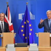 EU Chief Brexit Negotiator Michel Barnier (R) and Britain's Brexit Minister Dominic Raab hold a joint press conference after their meeting at the European Commission in Brussels on July 26, 2018.
