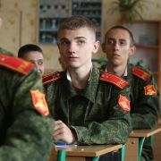 Students start off the school year at a military academy in the Ukrainian breakaway territory of Donetsk on Sept. 1, 2017.