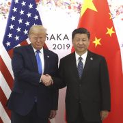 Chinese President Xi Jinping shakes hands with U.S. President Donald Trump before a bilateral meeting during the G-20 Summit on June 29, 2019, in Osaka, Japan.
