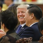 U.S. President Donald Trump attends a state dinner hosted by Chinese President Xi Jinping in 2017.