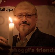 People take part in a candlelight vigil to remember journalist Jamal Khashoggi outside the Saudi consulate in Istanbul on Oct. 25, 2018.
